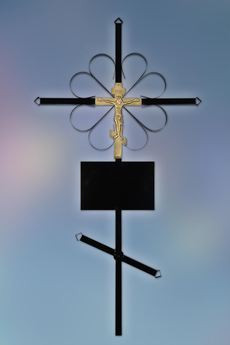Крест на могилу из металла купить памятник с цветником